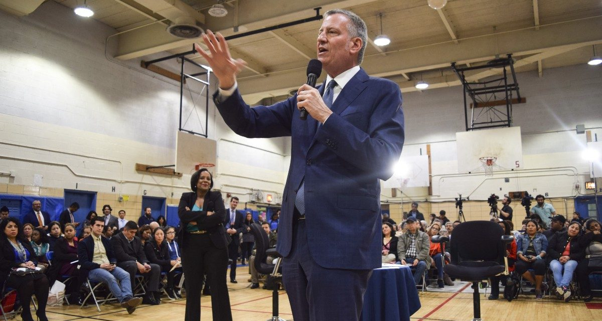 Mayor Bill de Blasio Town Hall meeting at IS 61 in Queens