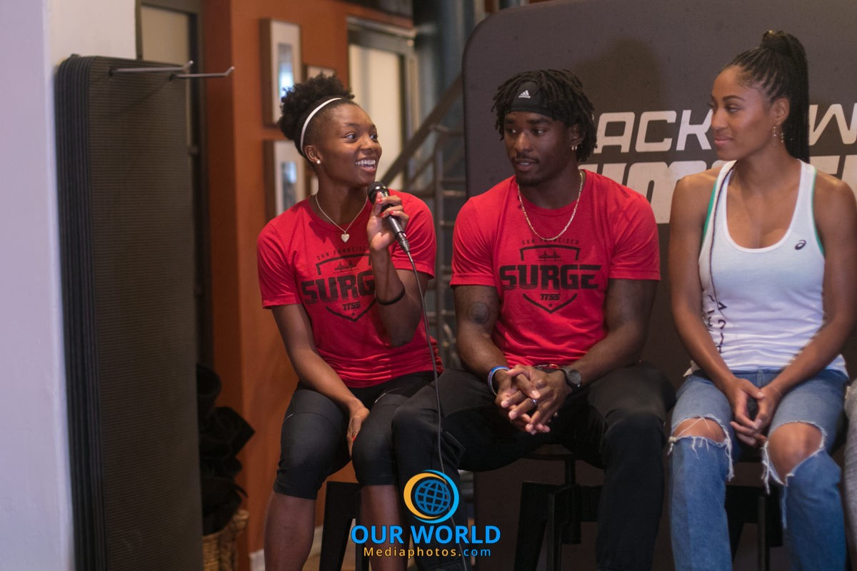 Quanesha Burks during an interview in NYC for TrackTown Summer Series. Photo by: Joe Swift @Jswiftsports