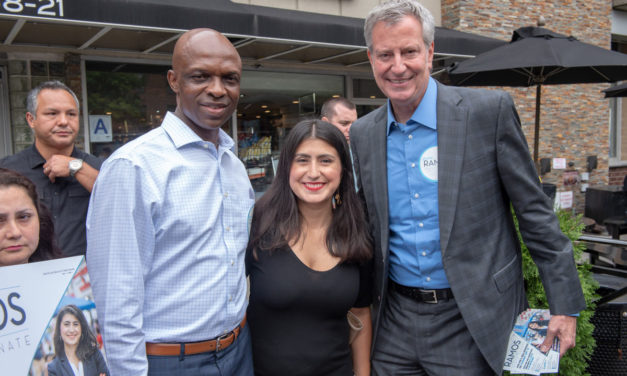 Mayor Bill de Blasio stomping for Jessica Ramos in LeFrak City