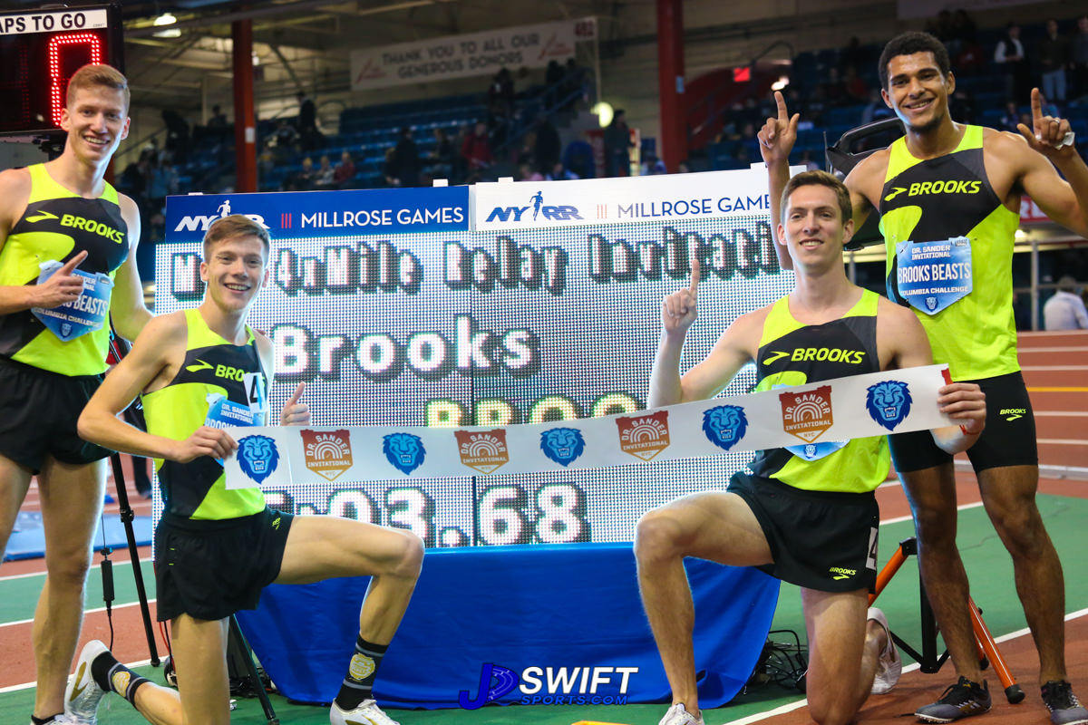 Photo by: Joe Swift Top: Owners of the 4x1mile indoor world record, left to right, Brannon Kidder, David Ribich, Henry Wynne, Izaic York