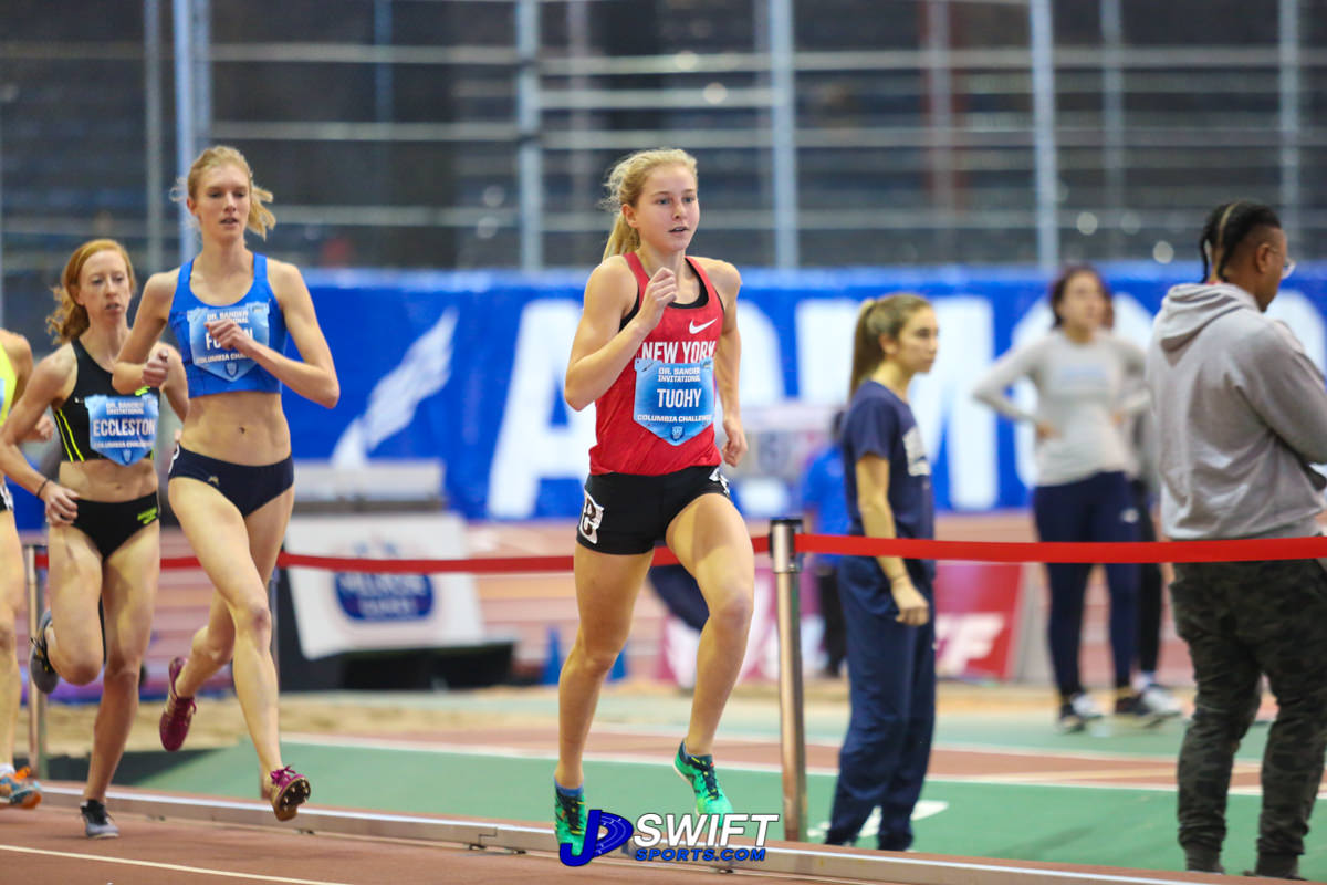 North Rockland High School (NY) junior Katelyn Tuohy secures the girls' national high school indoor record at The Armory. Photos by Joe Swift